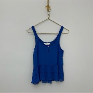 ABERCROMBIE Chiffon blue tiered crop tank size med